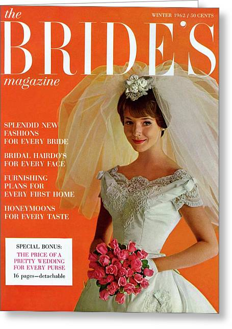 A Bridal In Wedding Dress Smiling At Camera Greeting Card by Peter Oliver
