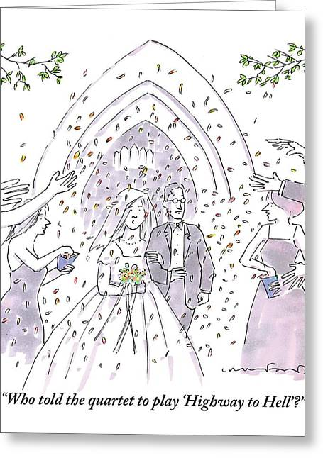 A Bride And Groom Are Seen Talking As People Greeting Card
