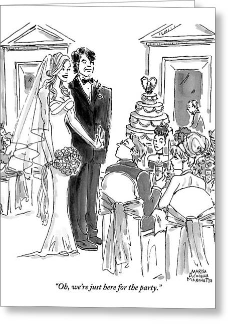 A Bride And Groom To The Guests At Their Wedding Greeting Card