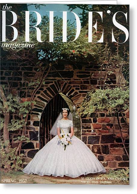 A Bride In Front Of Stone Gate Greeting Card by Carmen Schiavone