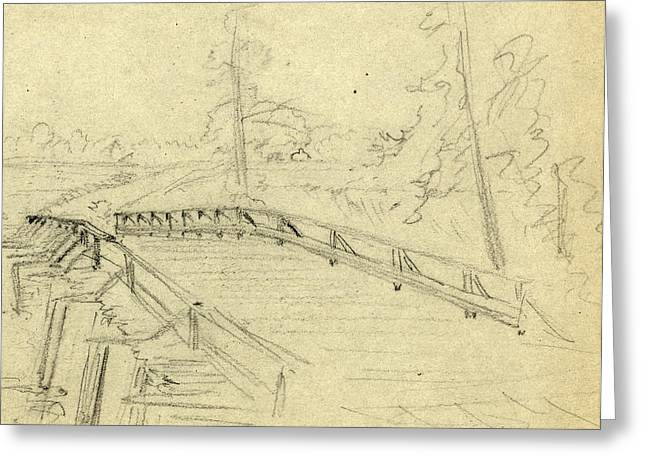 A Bridge Across A River, Between 1860 And 1865 Greeting Card