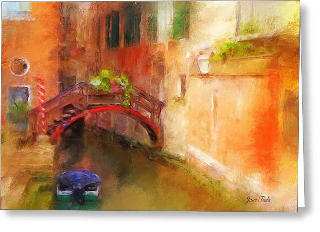 A Bridge In Venice Greeting Card by Jane Fiala