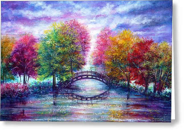 A Bridge To Cross Greeting Card by Ann Marie Bone