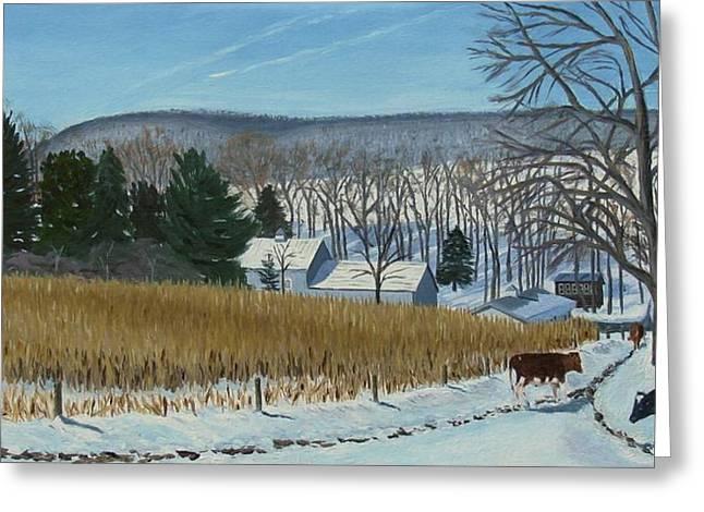 A Bright Blue Winter Day At Bear Meadows Farm Greeting Card