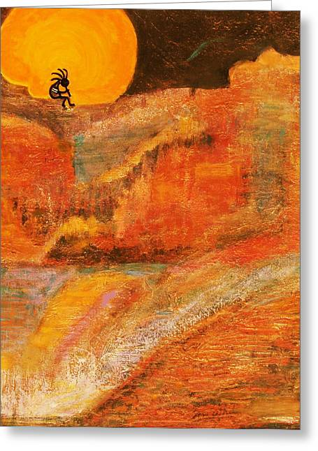 A Brighter Night With Kokopelli On A Marmalade Moon Night Greeting Card by Anne-Elizabeth Whiteway