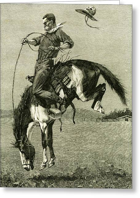 A Bronco Buster Riding A Bucking Horse 1891 Usa Greeting Card by English School