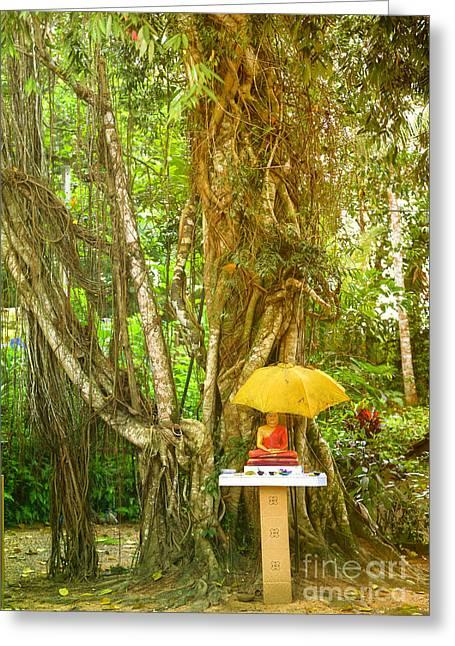 a Buddha shrine under a Bothi tree Greeting Card by Regina Koch