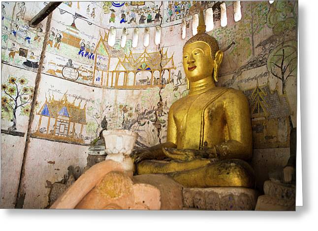 A Buddha Sits In An Ancient Buddhist Greeting Card by Micah Wright