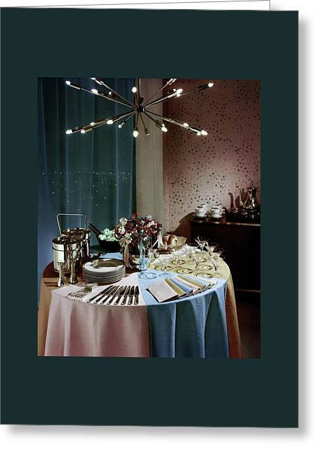 A Buffet Table At A Party Greeting Card by Wiliam Grigsby