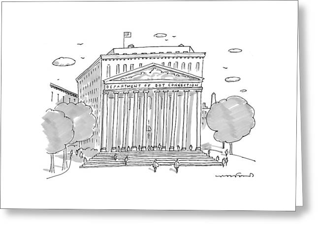 A Building In Washington Dc Is Shown Greeting Card by Michael Crawford