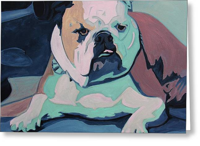 A Bulldog In Love Greeting Card by Xueling Zou