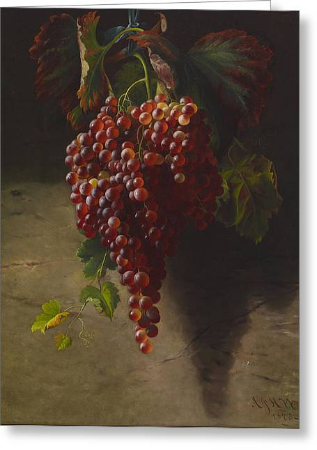 A Bunch Of Grapes Greeting Card by Andrew John Henry Way