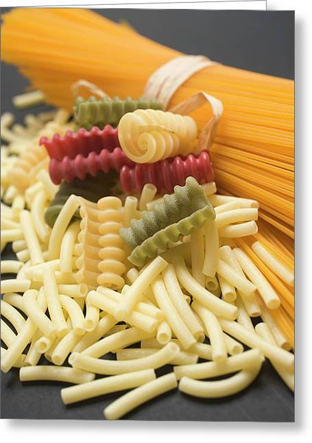 A Bundle Of Spaghetti And Various Types Of Coloured Pasta Greeting Card
