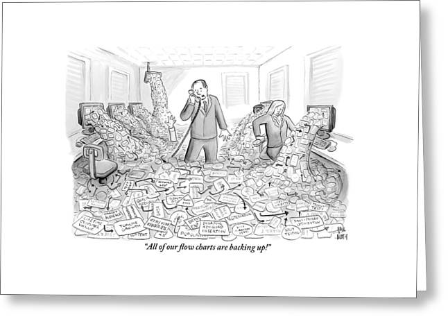 A Businessman Talks On The Phone As His Office Greeting Card by Paul Noth