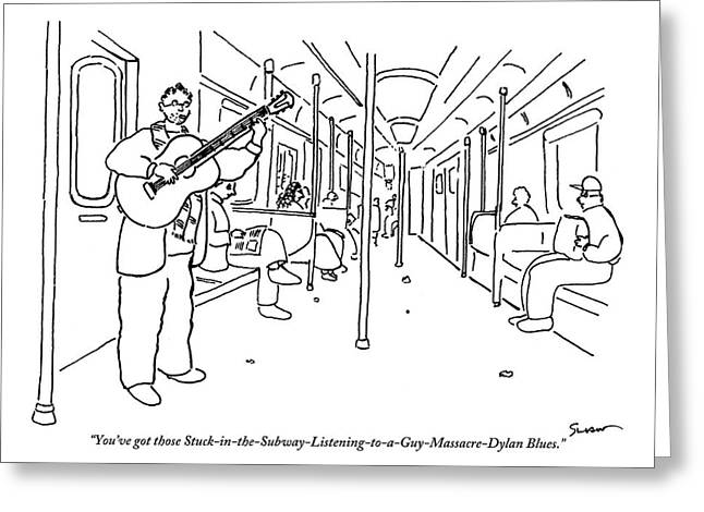 A Busker Sings And Plays Guitar For Uninterested Greeting Card