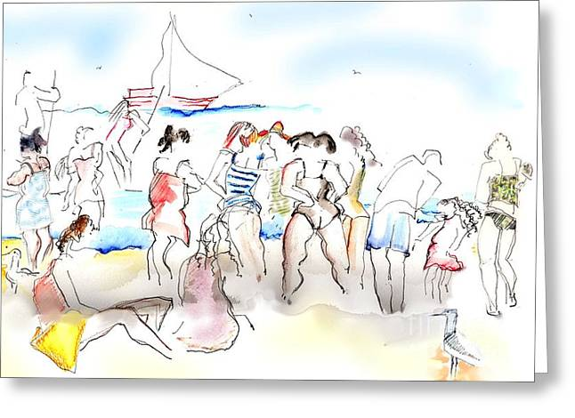 A Busy Day At The Beach Greeting Card