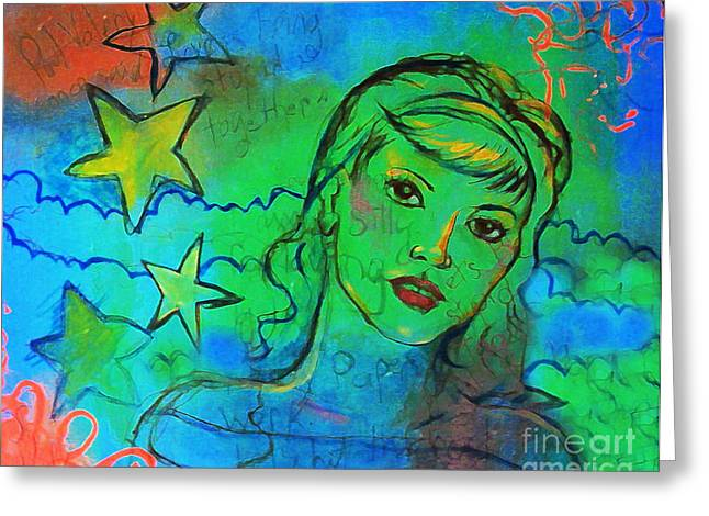Greeting Card featuring the digital art A Busy Mind by Angelique Bowman