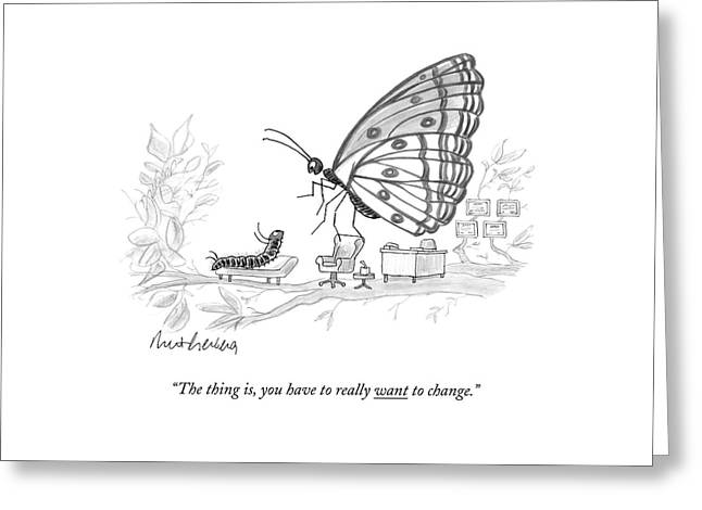 A Butterfly Speaks To A Caterpillar Greeting Card