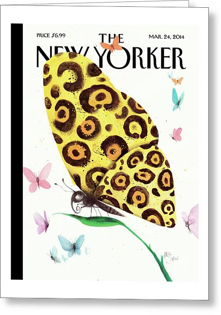 A Butterfly With A Cheetah Pattern Rests Greeting Card
