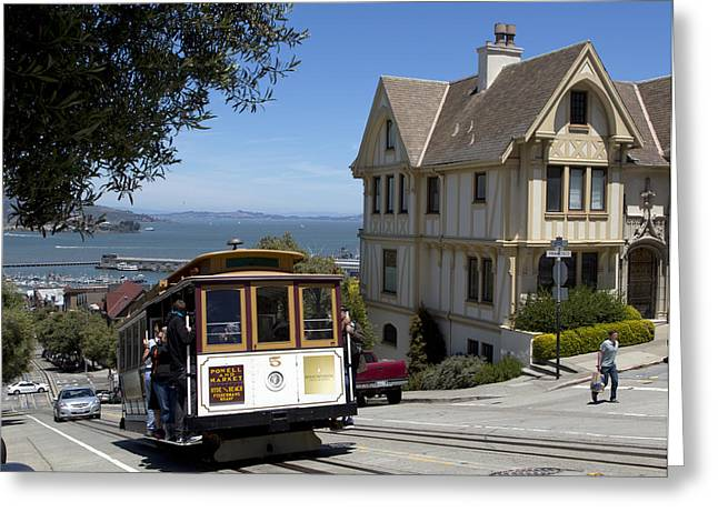 A Cable Car On Hyde Street Greeting Card by Mountain Dreams