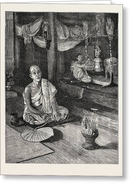 A Call To Worship Interior Of Buddhist Monastery Greeting Card