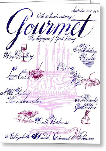 A Calligraphy Illustration Celebrating Sixty Greeting Card