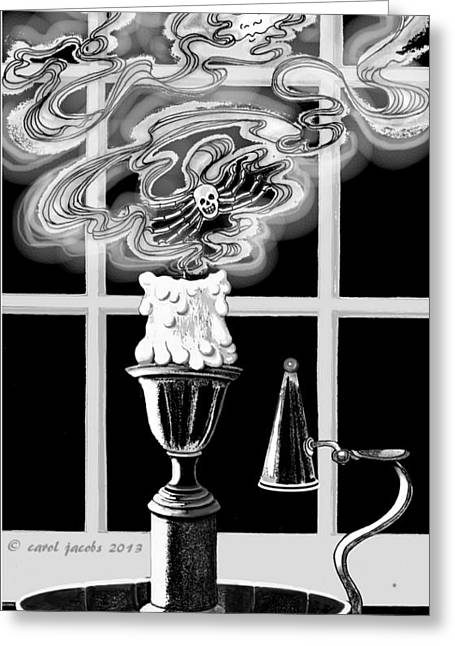 Greeting Card featuring the digital art A Candle Snuffed by Carol Jacobs