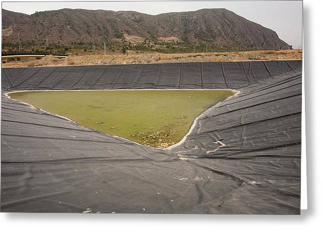 A Capture Pond On A Landfill Site Greeting Card by Ashley Cooper