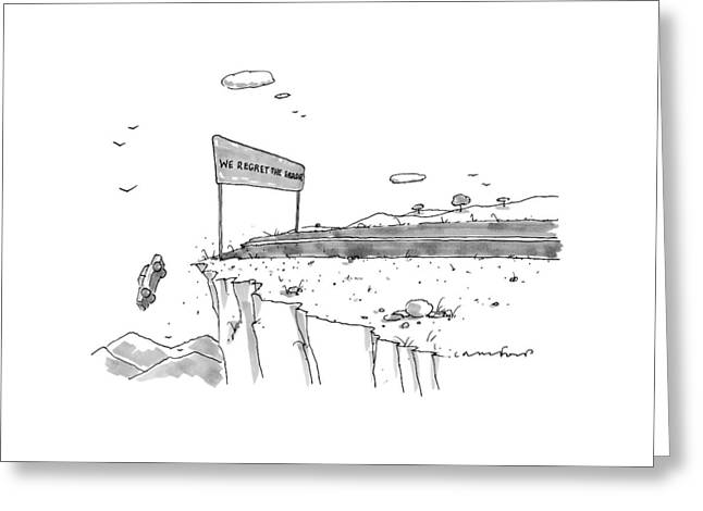 A Car Has Driven Off A Desert Cliff Greeting Card by Michael Crawford