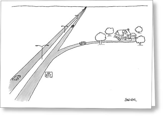 A Car Pulls Off A Highway Greeting Card