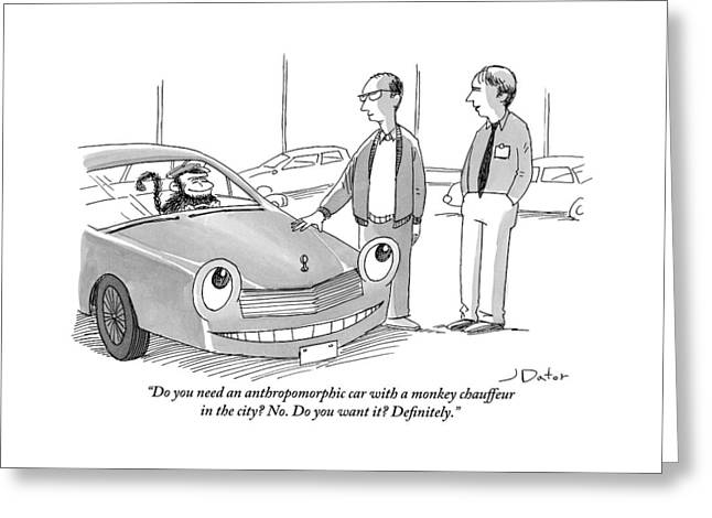A Car Salesman Gives A Pitch To A Prospective Greeting Card