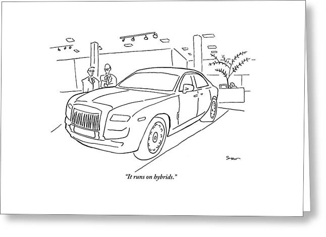 A Car Salesman Tells His Friend That The Large Greeting Card by Michael Shaw