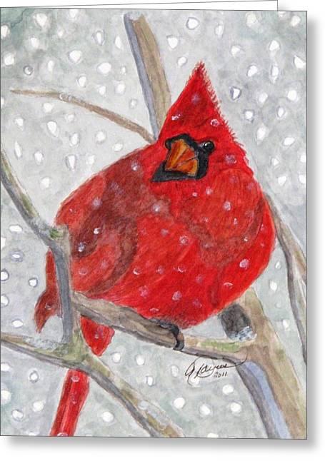 A Cardinal Winter Greeting Card by Angela Davies