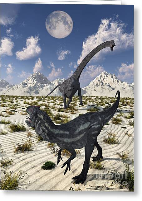 A Carnivorous Allosaurus Confronting Greeting Card by Mark Stevenson
