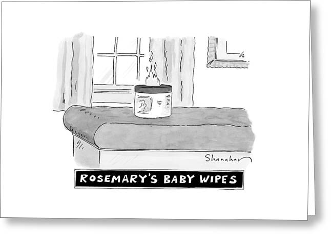 A Carton Of Babywipes On A Changing Table Spews Greeting Card by Danny Shanahan