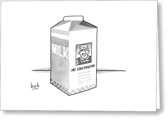A Carton Of Milk Sits On A Table With A Photo Greeting Card by Bob Eckstein