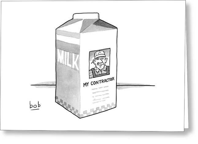 A Carton Of Milk Sits On A Table With A Photo Greeting Card