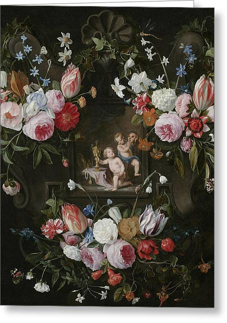 A Cartouche Still Life Of Flowers Greeting Card by Jan van & Balen, Hendrik van Kessel
