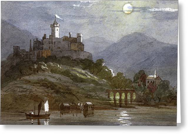 A Castle Sits On The Top Of A  Hill Greeting Card by Mary Evans Picture Library