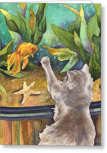 A Cat And A Fish Tank Greeting Card by Anne Gifford