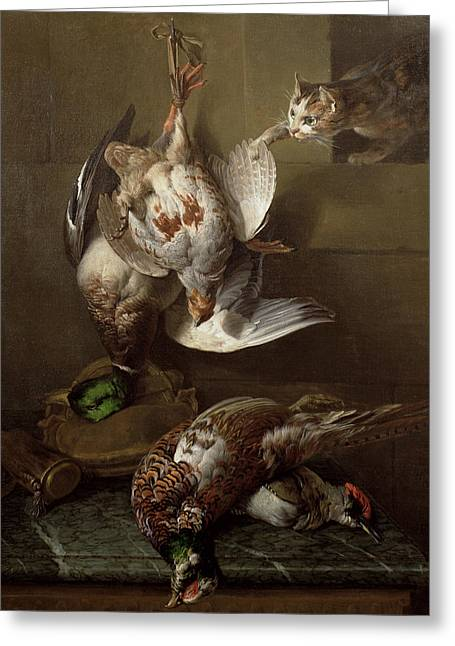 A Cat Attacking Dead Game Oil One Of A Pair, See Also 40087 Greeting Card by Alexandre-Francois Desportes