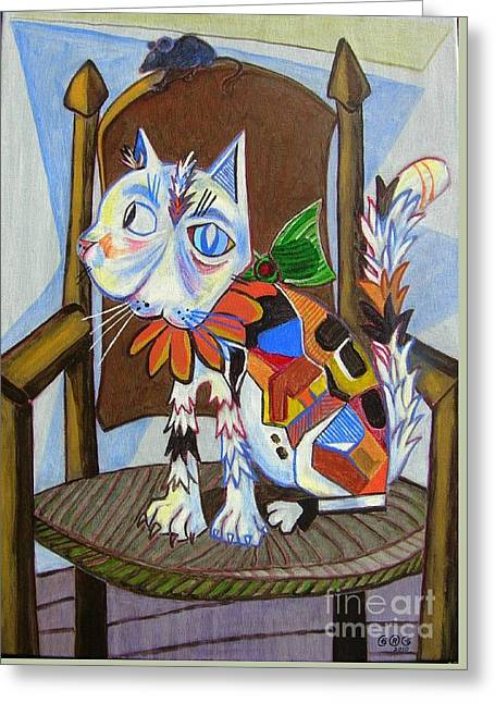 A Cat For Picasso_ Chat Et Souris Greeting Card