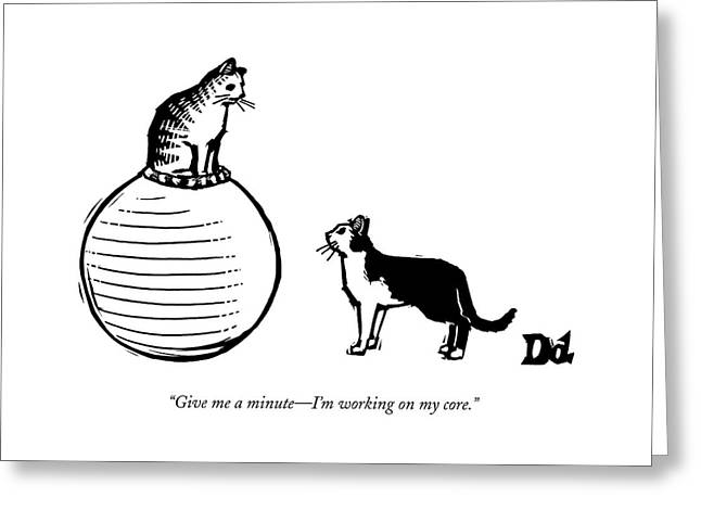 A Cat Stands On A Large Exercise Ball Greeting Card