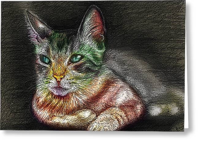 Savanna Cat  Greeting Card by Remy Francis