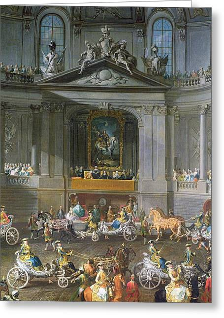 A Cavalcade In The Winter Riding School Of The Vienna Hof To Celebrate The Defeat Of The French Greeting Card by Martin II Mytens or Meytens