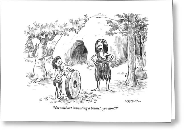 A Cave Woman Addresses Her Son Greeting Card