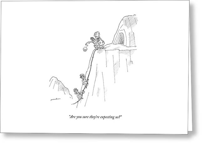 A Caveman And Woman Climb Up A Cliff Greeting Card