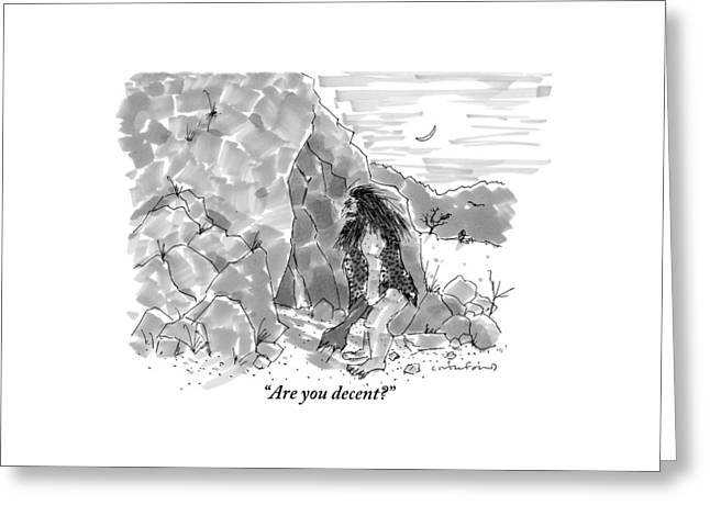 A Caveman Calls Into Cave From Entrance Greeting Card by Michael Crawford