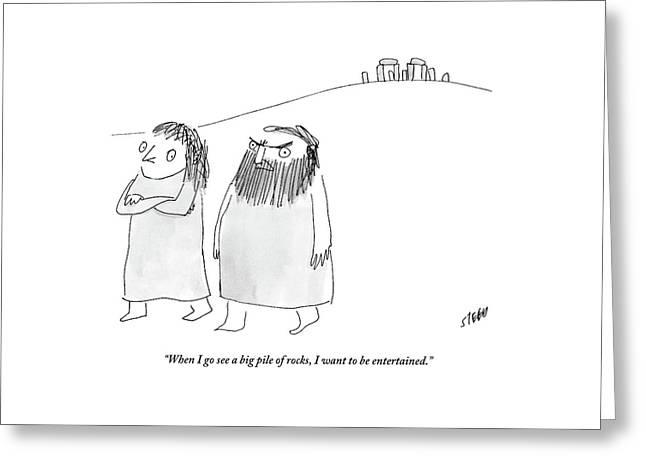 A Caveman Man Grumpily Talks To His Cavewoman Greeting Card