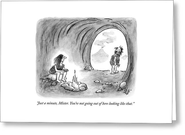 A Cavewoman Sits By The Fire And Speaks Greeting Card